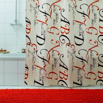 Шторка для ванной текстильная Baccetta Lettere 200х180 см