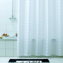 Текстильная занавеска для ванной Baccetta Quadretto белая 240х200 см