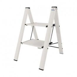 Алюминиевая лестница-стремянка с широкими ступеньками Colombo Leonardo 2 White